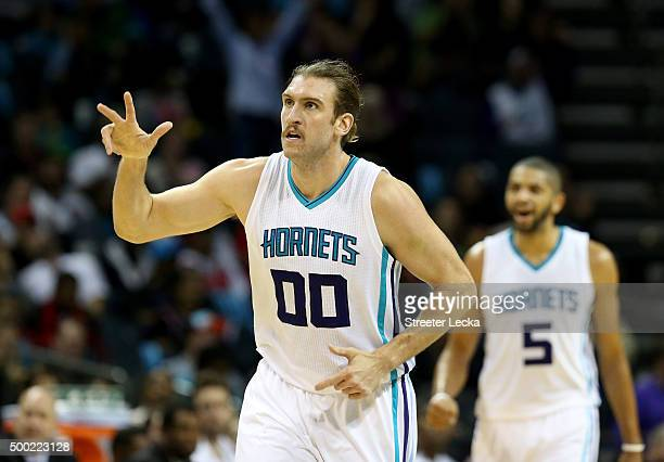 Spencer Hawes of the Charlotte Hornets during their game at Time Warner Cable Arena on November 3 2015 in Charlotte North Carolina NOTE TO USER User...