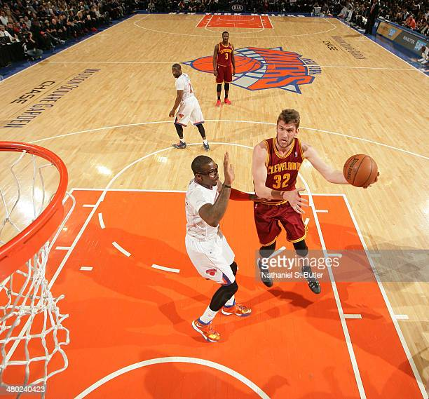 Spencer Hawes of the Cleveland Cavaliers shoots against the New York Knicks during a game at Madison Square Garden in New York City NOTE TO USER User...
