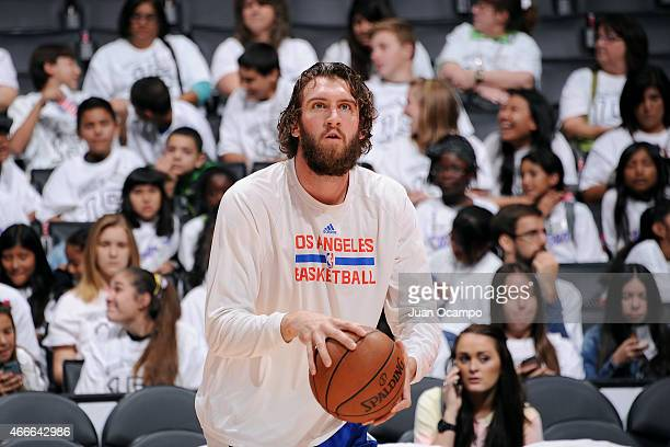 Spencer Hawes of the Los Angeles Clippers warms up before a game against the Charlotte Hornets on March 17 2015 at Staples Center in Los Angeles...