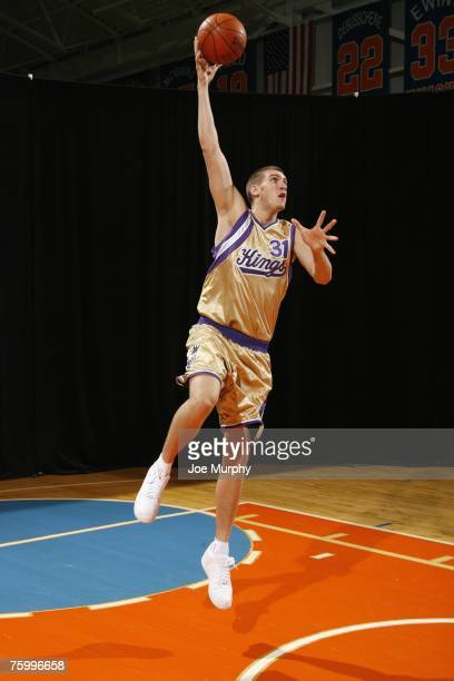Spencer Hawes of the Sacramento Kings poses for an action portrait during the 2007 NBA Rookie Photo Shoot on July 27 2007 at the MSG Training...