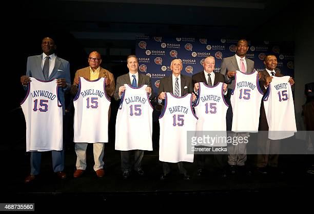 Spencer Haywood George Raveling John Calipari Dick Bavetta Louis Dampier Dikembe Mutombo and Jo Jo White pose for a picture during the Naismith...