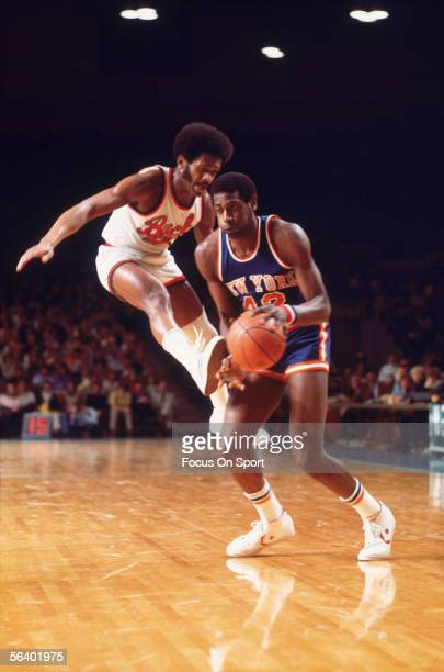 Spencer Haywood of the New York Knicks dribbles against the Milwaukee Bucks circa the 1980's during an NBA game