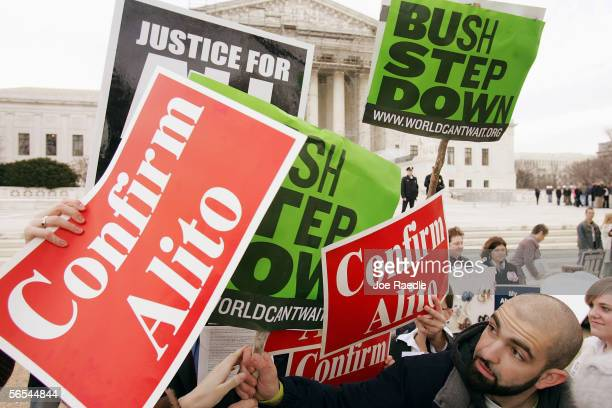 Spencer Johnson from San Francisco California who is hoping that Supreme Court nominee Samuel Alito isn't confirmed tries to get his voice heard...