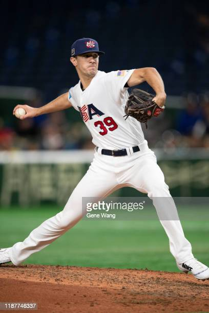 Spencer Jones of Team USA pitchs during the WBSC Premier 12 Super Round game between USA and Chinese Taipei at the Tokyo Dome on November 15 2019 in...