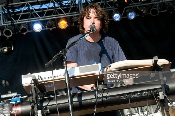 Spencer Krug of Wolf Parade performs during day two of Pitchfork Music Festival at Union Park on July 17 2010 in Chicago Illinois