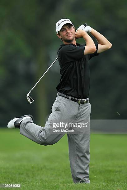 Spencer Levin plays his second shot on the 17th hole during round two of the 2010 RBC Canadian Open at St. George's Golf and Country Club on July 23,...