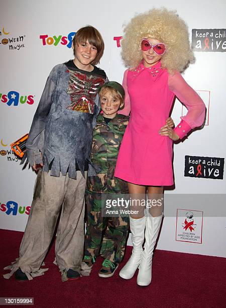 Spencer List Phoenix List and Peyton List attend the 10th Annual Dream Halloween New York event at the Hard Rock Cafe Times Square on October 23 2011...