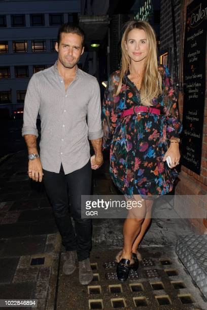 Spencer Matthews and Vogue Williams seen leaving Street XO Restaurant in Mayfair on August 24 2018 in London England