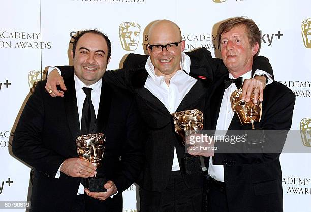 Spencer Millman Harry Hill and Peter Orton with their awards for Best Entertainment Programme for TV Burp during the British Academy Television...