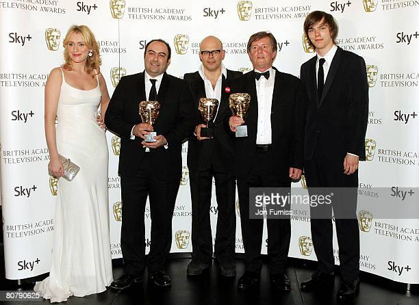 Spencer Millman Harry Hill and Peter Orton with their awards for Best Entertainment Programme for TV Burp with award presenters Keeley Hawes and...