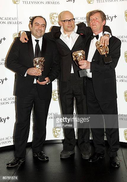 Spencer Millman Harry Hill and Peter Orton with their awards for Best Entertainment Programme for 'TV Burp' during the British Academy Television...