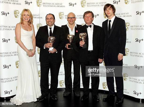 Spencer Millman Harry Hill and Peter Orton with their awards for Best Entertainment Programme for 'TV Burp' with award presenters Keeley Hawes and...