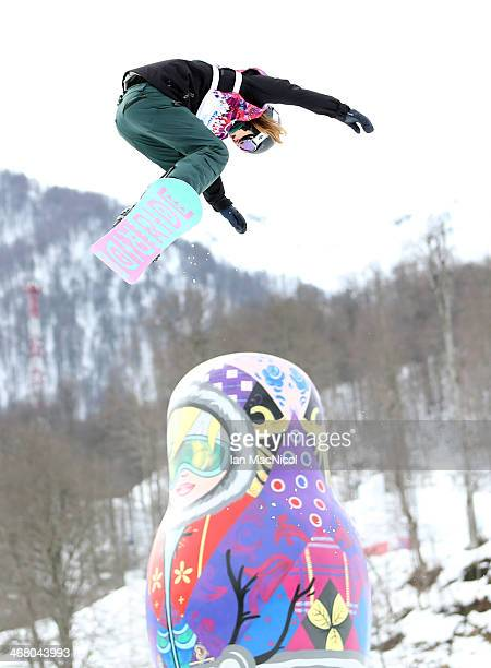 Spencer O'Brien of Canada competes during the Snowboard Women's Slopestyle Final during day 2 of the Sochi 2014 Winter Olympics at Rosa Khutor...