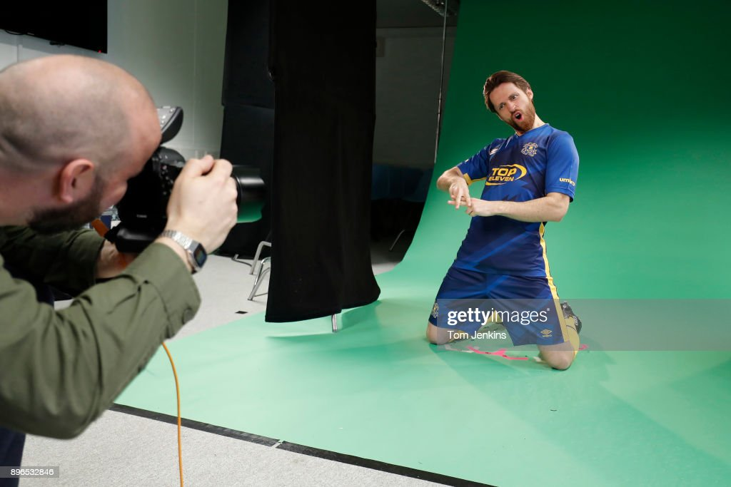Spencer Owen, frontman of Hashtag United, does the hashtag sign as he poses during an Umbro photo-shoot taking images of the new kit at the new West Ham United training ground at Rush Green on March 12th 2017 in London