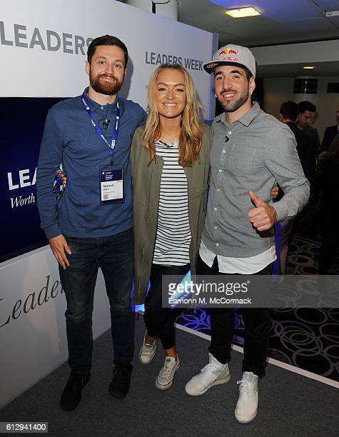 Spencer Owen, Laura Woods and Sean Garnier attend the Leaders Sport Business Summit at Stamford Bridge on October 6, 2016 in London, England.