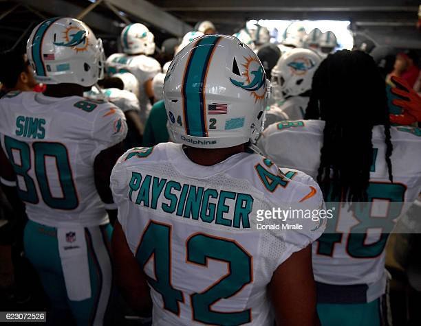 Spencer Paysinger and the rest of the Miami Dolphins prepare to enter the field for a game against the San Diego Chargers at Qualcomm Stadium on...