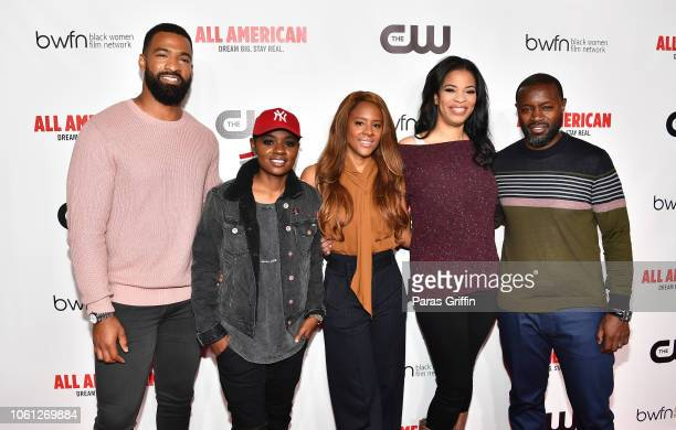 Spencer Paysinger BreZ Traci Blackwell Nkechi Okoro Carroll and Rob Hardy attend The CW and the Black Women Film Network presents All American...