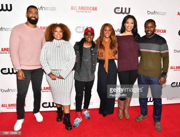 Spencer Paysinger Janee Bolden BreZ Traci Blackwell Nkechi Okoro Carroll and Rob Hardy attend The CW and the Black Women Film Network presents All...