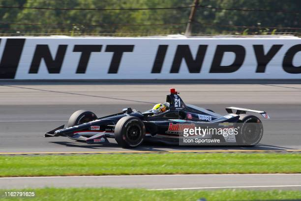 Spencer Pigot driver of the Ed Carpenter Racing Chevrolet during the IndyCar Series ABC Supply 500 on August 18 2019 at Pocono Raceway in Long Pond Pa