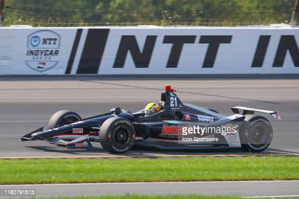 Spencer Pigot driver of the Ed Carpenter Racing Chevrolett drives during the IndyCar Series ABC Supply 500 on August 18 2019 at Pocono Raceway in...