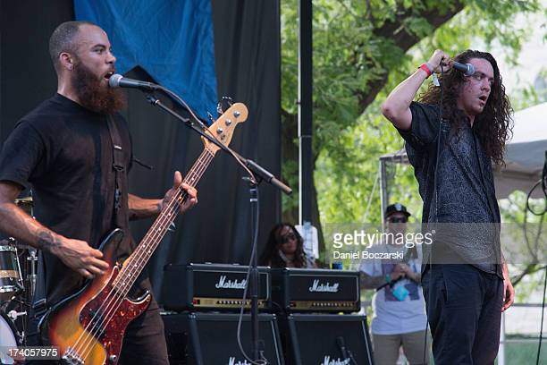 Spencer Pollard and Lee Spielman of Trash Talk performs on stage on Day 1 of Pitchfork Music Festival 2013 at Union Park on July 19 2013 in Chicago...