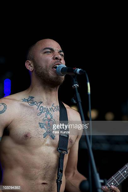 Spencer Pollard of American hardcore band Trash Talk performs on stage during the second day of Hevy Music Festival at Port Lympne Wild Animal Park...