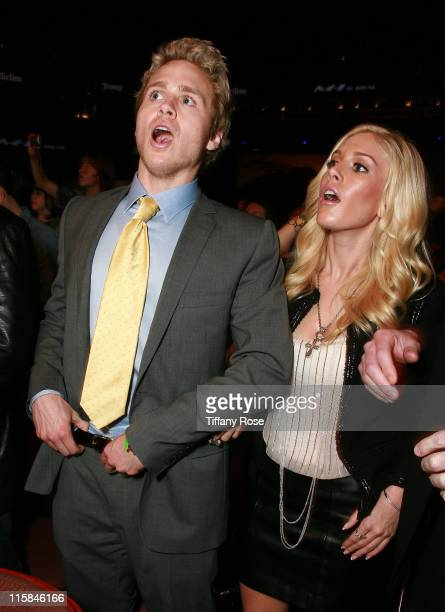 Spencer Pratt and Heidi Montag of 'The Hills' react after Mixed Martial Artist Tim Sylvia gets knocked out in the first round during Affliction Day...