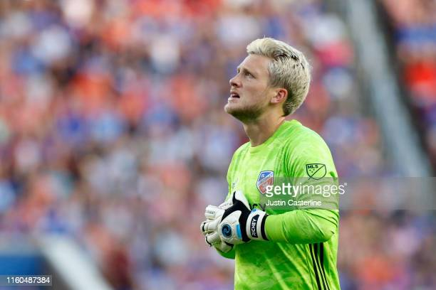 Spencer Richey of the FC Cincinnati looks on during the game against the Houston Dynamo at Nippert Stadium on July 06 2019 in Cincinnati Ohio