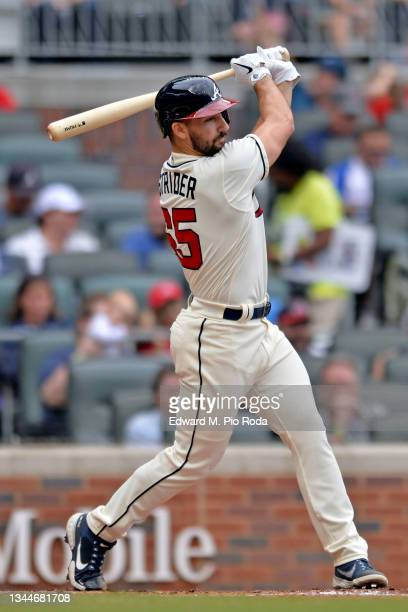 Spencer Strider of the Atlanta Braves bats in a game against the New York Mets at Truist Park on October 3, 2021 in Atlanta, Georgia.