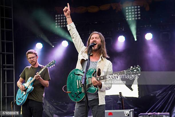 Spencer Thomson and Trevor Terndrup of Moon Taxi perform at Waterfront Park on July 15 2016 in Louisville Kentucky