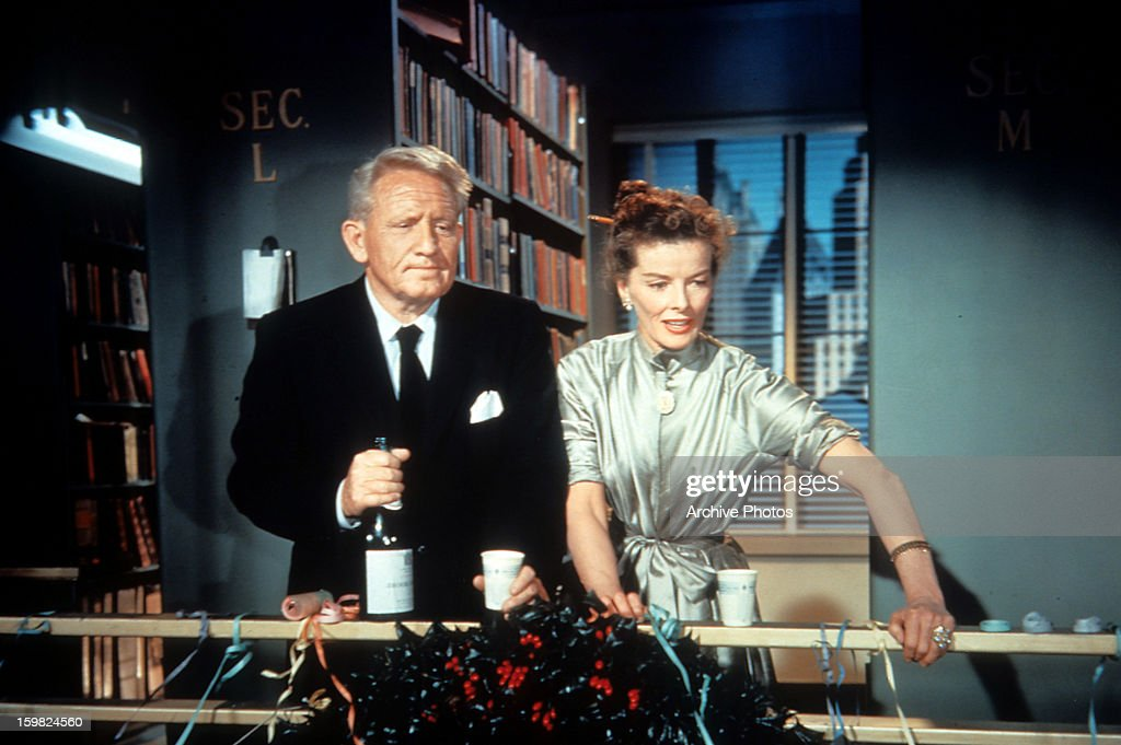 Spencer Tracy And Katharine Hepburn In A Scene From The Film Desk Set