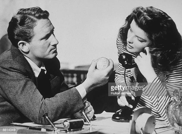 Spencer Tracy and Katharine Hepburn in a scene from the film 'Woman Of The Year', directed by George Stevens for MGM.