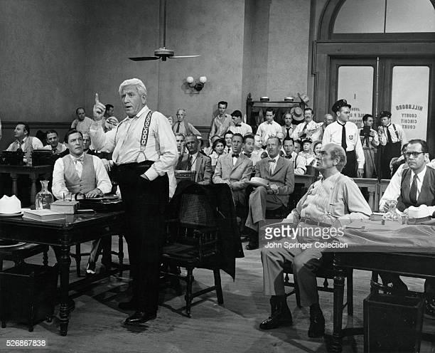 Spencer Tracy as defense attorney Henry Drummond in the 1960 film Inherit the Wind Fredric March plays attorney Matthew Harrison Brady