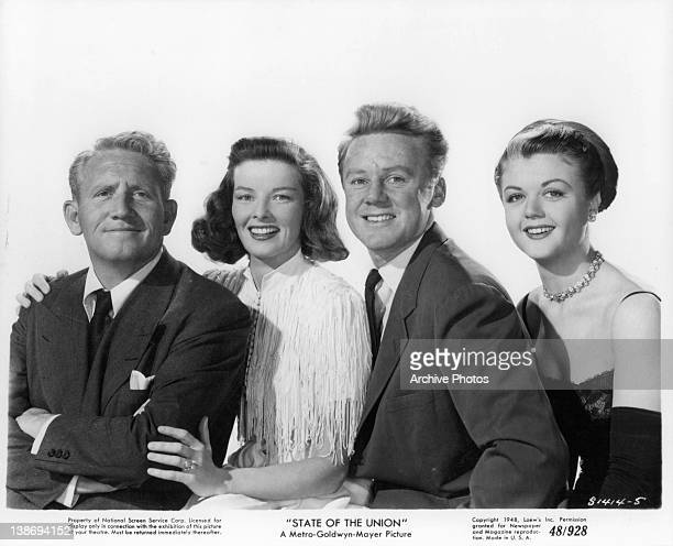 Spencer Tracy Katharine Hepburn Van Johnson and Angela Lansbury pose for a publicity portrait for the film 'State Of The Union' 1948