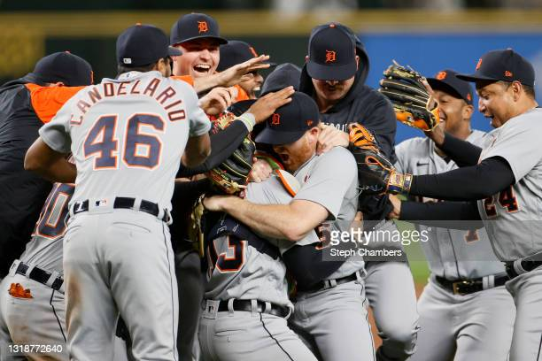 Spencer Turnbull of the Detroit Tigers celebrates with his teammates after his no-hitter against the Seattle Mariners at T-Mobile Park on May 18,...