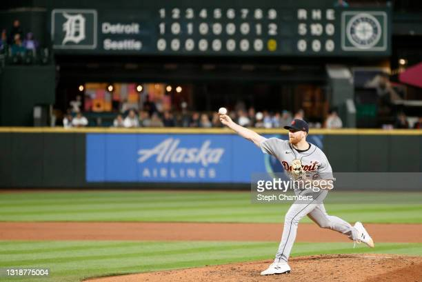Spencer Turnbull of the Detroit Tigers pitches against the Seattle Mariners in the ninth inning at T-Mobile Park on May 18, 2021 in Seattle,...