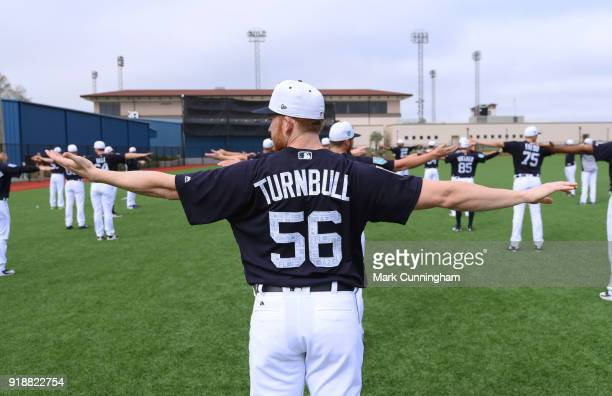 Spencer Turnbull of the Detroit Tigers stretches during Spring Training workouts at the TigerTown Facility on February 14 2018 in Lakeland Florida
