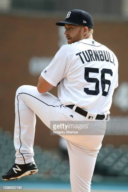 Matt Hall of the Detroit Tigers pitches during the game against the Minnesota Twiins at Comerica Park on September 19 2018 in Detroit Michigan The...