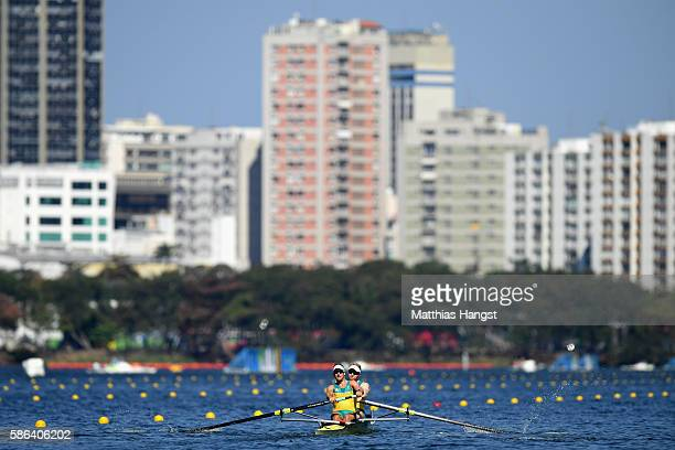 Spencer Turrin and Alexander Lloyd of Australia compete during the Men's Pair Heat 1 on Day 1 of the Rio 2016 Olympic Games at the Lagoa Stadium on...