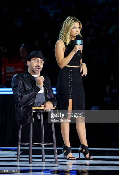 Spencer West and Olivia Holt on stage during WE Day Minnesota at Xcel Energy Center on September 20 2016 in St Paul Minnesota