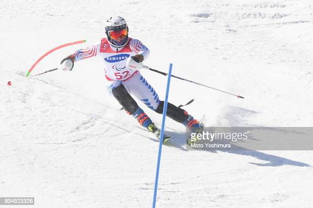 Spencer Wood of the United States competes in the Alpine Skiing Men's Slalom Standing on day eight of the PyeongChang 2018 Paralympic Games on March...