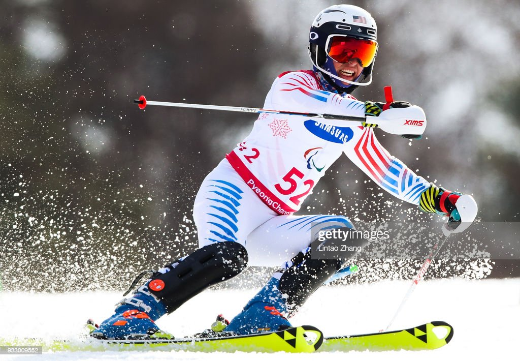Spencer Wood of United States competes in the Men's Slalom Run 2 - Standing at Alpine Centre during day eight of the PyeongChang 2018 Paralympic Games on March 17, 2018 in Pyeongchang-gun, South Korea.