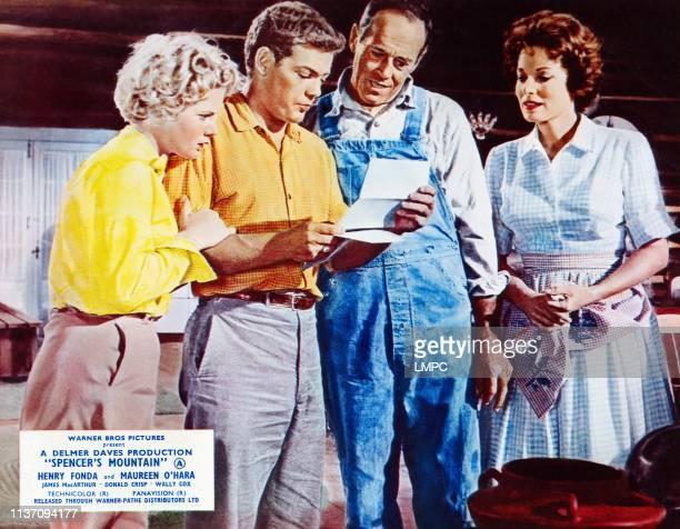 Spencer's Mountain lobbycard from left Mimsy Farmer James MacArthur Henry Fonda Maureen O'Hara 1963
