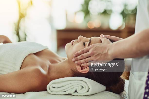 spend a little time on yourself - head massage stock photos and pictures