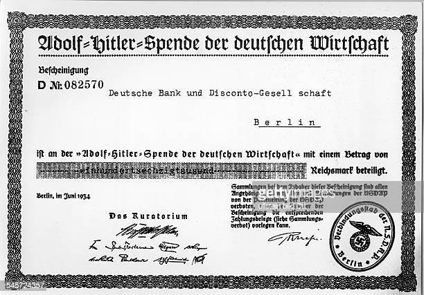 Spendenbescheinigung des Kuratoriumsder `AdolfHitlerSpende der deutschenWirtschaft' für die Deutsche Bank Juni 1934