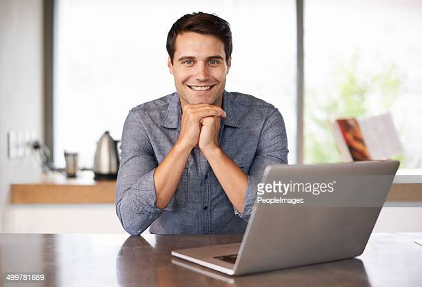 Spending a little quality time with his laptop