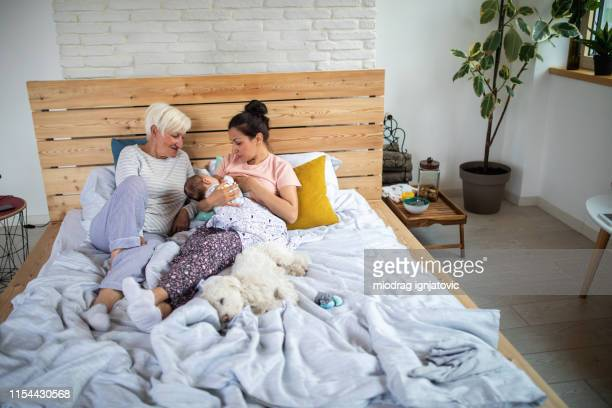 spending some family time together - woman breastfeeding animals stock photos and pictures