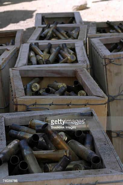 Spent .50-caliber machine gun shell casings sit inside wooden boxes after a training evolution for Marine Aircraft Group 39, 3rd Marine Aircraft Wing, at a firing range on Marine Corps Base Camp Pendleton September 23.