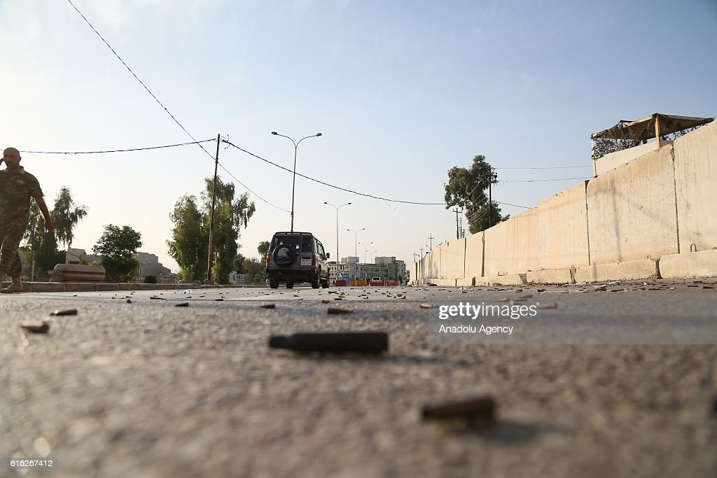 Spent bullet cartridges on a street around the Jihad Hotel which was cleared of Daesh after being kept by terrorists for two days, as Iraqi security forces patrol on Kirkuk streets where efforts to clear Daesh continue in Kirkuk, Iraq on October 22, 2016. Thirteen people were killed on Friday by a Daesh suicide attack on a power plant in the northern Iraqi city of Kirkuk. A curfew was imposed in Kirkuk in the wake of other attacks, security sources said.