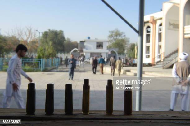 Spent bullet casings are seen a day after a suicide attack on a Shiite mosque in Kabul on August 26 2017 A suicide bomb and gun attack claimed by the...